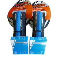 2x BLUE Maxxis Re-Fuse Folding Tyre 700 X 23c (PAIR) + Tubes. Refuse Road Bike Tires
