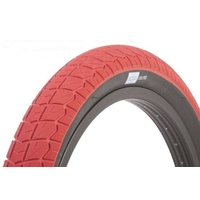 2 x (PAIR) Sunday Current BMX Tyres 20 x 2.4 Red with Black Wall.