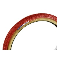 "2x (PAIR) 20"" x 1.75 Panaracer Old School Freestyle BMX Tyres Red / Skin Wall"