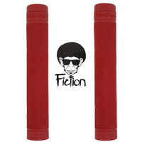 Fiction Troop Grip Blood Red Flangeless BMX Grips - Soft Rubber Grips No Flange.