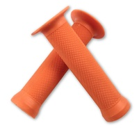 Evoke Flanged Grips - Orange BMX with Flange Scooter Bike Grips