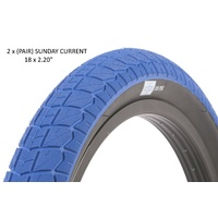 "2 x (PAIR) Sunday Current BMX Tyres 18 x 2.20"" Blue with Black Wall."