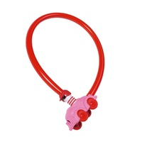 Abus My First Childrens Bike Cable Lock - Pink Kids Cycling Loop Lock Cable