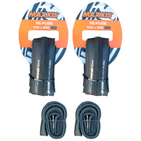 2x Maxxis Re-Fuse + 2x Tubes. Folding Road Bike Tyres 700 x 25c Refuse Black