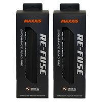 2 x (PAIR) Maxxis Re-Fuse Foldable Tyre 700 X 23c Refuse - BLACK Road Bike Tires