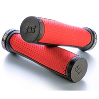 Jet Black Clutch Lock-On Grips - Red / Black w Black Rings Bike Grips