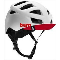 Bern Allston Satin White Bike Helmet with Red Visor - S/M, L/XL or 2XL/3XL