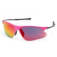 JetBlack Svelto High Vis Sunglasses - Fluro Pink with Black Tips - Red Lenses