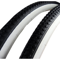2x (PAIR) 700 x 38c Retro Cruiser Black w White Wall Bike Tyres + Tubes