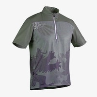 Sugoi Griffin Mens Cycling Jersey Full Sublimated Design - 1/4 Zip - Olive Green Medium