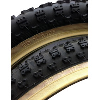 "Pair Tioga BMX Comp3 Old School Gum Skinwall 1 Fat 2.125 1 Skinny 1.75 20"" Tyres"