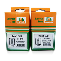 "2x (Pair) Duro 24"" x 1 3/8 Bicycle Tube 24 Inch x 1 3/8 Schrader Valve Bike Tubes"