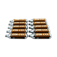 10 x 25gm Co2 Cartridges - Jetblack Brand - Larger Size for Mountain Bikes!