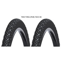 2 x 700 x 35c Mordeo Commuter Tyre - Chaptah Bike Tire Black 700c
