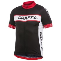 Craft AB Logo Mens Cycling Jersey - Black / Red / White Bike Jersey [Sizes : Small ]