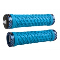 ODI MTB VANS Lock-On Bike Grips Bonus Pack - Light Blue with Check Rings
