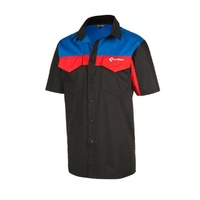 CUBE Bike Brand Work Shirt - Black Red and Blue Short Sleeve Team Shirt