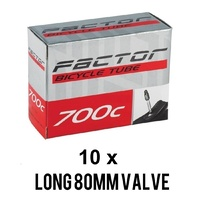 10 x Factor Road Bike Race Inner Tubes 700 x 18-23c Long 80mm Presta Valve