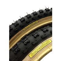 "Pair Tioga BMX Comp3 Old School Gum Skinwall Fat 20 x 2.125"" Tyres"