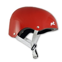 PIT Skate Scooter BMX Bike Helmet - Red / White Strap - S/M or L/XL