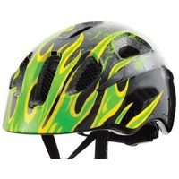 AZUR Black / Green Flames KIDS Bike / Skate / Scooter Helmet - Children's Helmet