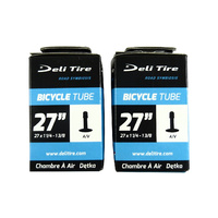 "2x (PAIR) Deli 27"" x 1 1/4 - 13/8 Bike Tubes 48mm Schrader Valve"