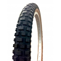 "2x (PAIR) Old School Comp 2 BMX Tyres - 1 x 2.125"" - 1 x 1.75 Fat Skinny Black Skin Wall"