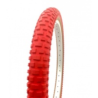 "2x (PAIR) Old School Comp 2 BMX Tyres - 20 x 1.75"" Red w Skin Wall Tan Bike Tire"