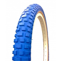 "2x (PAIR) Old School Comp 2 BMX Tyres Fat - 20 x 2.125"" Blue w Skin Wall Tan"