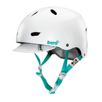 Bern Brighton Womens Bike Helmet Satin White - W/Visor, Fixed Back - Size XS