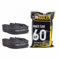 2 x Road Bike Inner Tubes Size 700C x 19-25c with 60mm Presta Valve Peddler