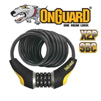 OnGuard Bike Lock - 8032 - Doberman - Coiled Cable Combo - 10mm x 185cm