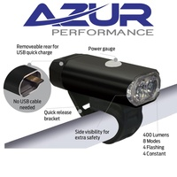 Azur Front Bike Light -  USB Headlight - Aluminium Case - 400 Lumen