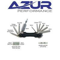 Azur Bike Multi Tool - Allen Key-Torx-Screwdriver-Bits-Sockets - 14 Function