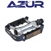 "Azur Bike / Cycling Pedals - M20 Platform Alloy Pedals - 9/16"" - Black / Silver"