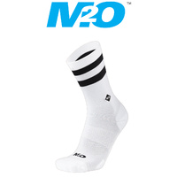 M2O Bike/Cycling Socks - Stripe - Crew Plus Socks - White/Black - Various Sizes