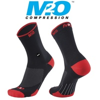 M2O Bike / Cycling Socks - Endurance Band Crew Socks - Black / Red
