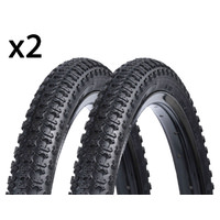 2 x (PAIR) 16 x 1.75 inch Foras Kids Bike Tyres - Old School BMX Style 2 x Tires