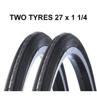 2 x 27 x 1 1/4 Bellicus Road Bike Tyre Black Vintage Retro 32-630 Inch Tire