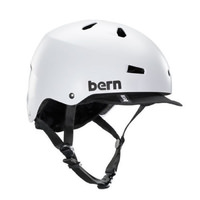 Bern Macon Bike Helmet - Satin White. W/ Visor, Crank Fit