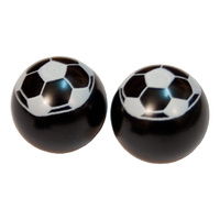 Prime Aero BMX Valve Caps - Football - Pack Of 10 - Black/White