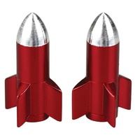 Prime Aero BMX Valve Caps - Rocket - Alloy - Pack Of 10 - Red