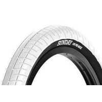 "Sunday BMX Tyre - Street Sweeper - 20"" x 2.40"" - White / Blackwall"