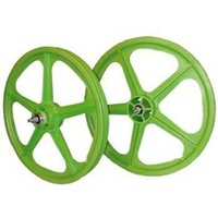"Skyway BMX 20"" Wheelset Front - Rear - Tuff II - Sealed Bearing - 5 Spoke - Green"