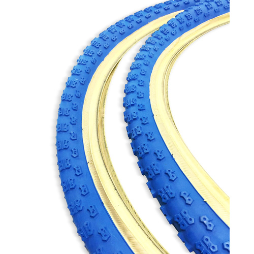 "2 x Kenda Comp 3 BMX Tyres - 26 x 2.125"" Blue w Skin Wall Tan Bike Tires"